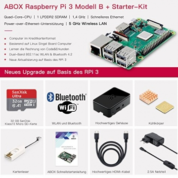 Raspberry Pi 3 Modell B Plus (B +) Ultimatives Starterkit mit 32GB Micro SD Karte,& Schaltnetzteil ✪