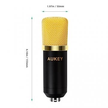 AUKEY Kondensator Mikrofon Set Pro mit Ständer, Popschutz, geeignet für Studio und Rundfunk Aufnahmen ✪