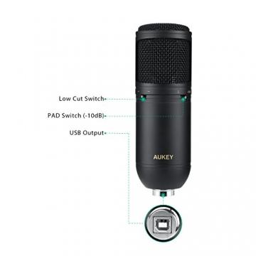 AUKEY USB Kondensator Mikrofon PC Desktop Microphone mit Ständer und Windschutz ✪