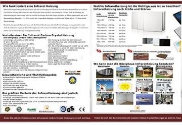 Infrarot Heizung 600 Watt mit Thermostat ✓ 10 Jahre Herstellergarantie ✓ Überhitzungsschutz ✓ Könighaus ✪