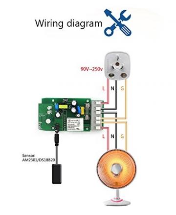 Sonoff TH16 Temperatur und Feuchtigkeitsmessung WLAN Schaltrelais für Smart Home, Alexa & ioBroker (16A) ✪