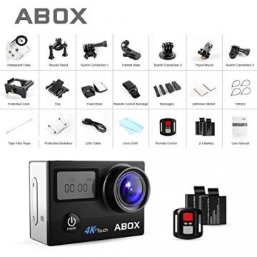 Abox 4K Actionkamera - Wasserdicht, Anti-Shake, mit Helmbasis/Unterwasser-Gehäuse/WiFi-Fernbedienung / 170 Grad Objektiv ✪