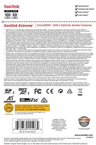 SanDisk Extreme 64 GB microSDXC Speicherkarte + SD-Adapter bis zu 100 MB/Sek, Gold/Rot, Class 10 (für Insta360) ✪