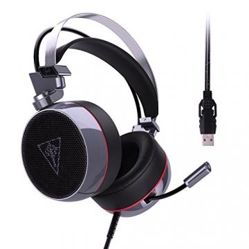 AUKEY Gaming Headset Virtuelle 7.1 Kanal Stereo RGB Hintergrundbeleuchtung Geräuschunterdrückung Gaming Kopfhörer Over-Ear Flexible Mic, Vibrations Schalter und Lautstärkeregler - Schwarz und Silber - 2
