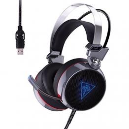 AUKEY Gaming Headset Virtuelle 7.1 Kanal Stereo RGB Hintergrundbeleuchtung Geräuschunterdrückung Gaming Kopfhörer Over-Ear Flexible Mic, Vibrations Schalter und Lautstärkeregler - Schwarz und Silber - 1