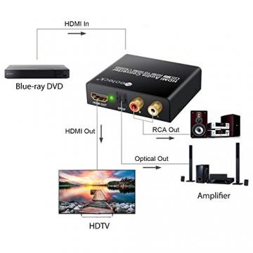 Neoteck HDMI Audio Splitter 4K 2160P HDMI zu optischen SPDIF Toslink & Chinch ✪