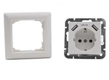 USB Steckdosen 55mm x 55mm Schuko Wandsteckdose Unterputz mit 2 USB 2.8A ✪