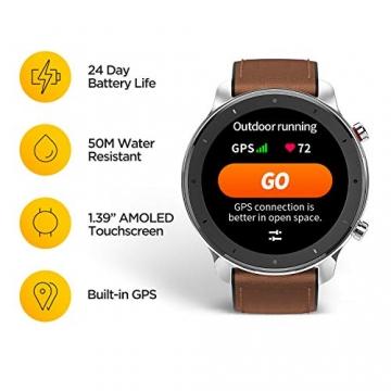 Xiaomi Amazfit GTR 47mm Smart Watch mit ganztägiger Herzfrequenz- und Aktivitätserfassung, GPS und extrem Langer Akkulaufzeit (Aluminium Alloy) ✪