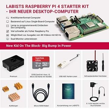 LABISTS Raspberry Pi 4 Model B 4 GB Ultimatives Kit mit 32GB Class10 Micro SD-Karte, 5,1V 3,0A USB-C EIN/Aus-Schaltnetzteil, 3 Premium Kupfer Kühlkörper, Micro HDMI-Kabel, Premium Schwarzes Gehäuse ✪