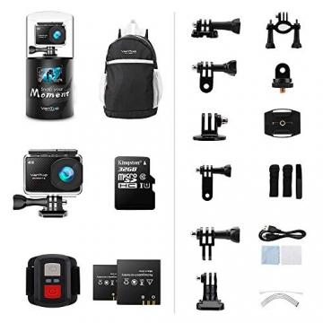 VanTop 4K Action Cam mit Touchscreen, 2 Akkus & Zubehör ✪
