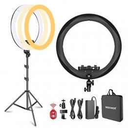 Neewer Ring Licht Set [Verbesserte Version] -18 Zoll, 3200-5600K, dimmbares LED-Ringlicht mit Stativ ✪