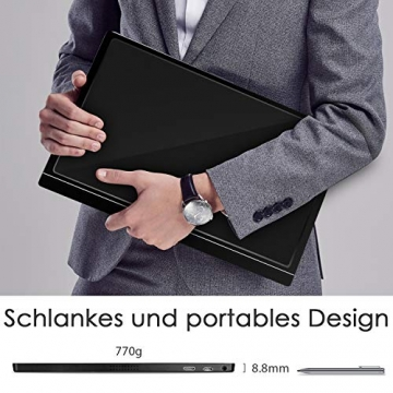 Tragbarer Monitor - 15,6 Zoll IPS Bildschirm 1920×1080 Full HD mit USB-C/Typ-C Mini-HDMI für PC, Handy, Xbox, PS4 usw, mit Schutzhülle ✪