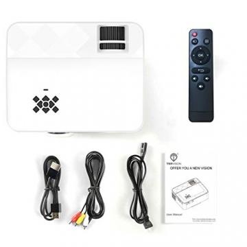 TopVISION Mini Beamer, 720p Auflösung, 50000 Stunden LED, kompatibel mit HDMI / USB / TV ✪