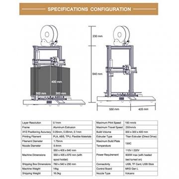 Artillery Sidewinder X1 3D Drucker - Neuestes V4 Modell Geräuschlos Gitterglas Heizbett (300x300x400mm)✪