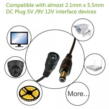 12V Adapter Kabel DC Stecker Verlängerungskabel - 2 Meter 2,1mm x 5,5mm DC ✪