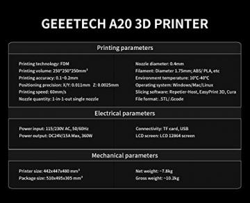 GEEETECH A20 3D-Drucker (Baugröße 250 x 250 x 250mm) ✪