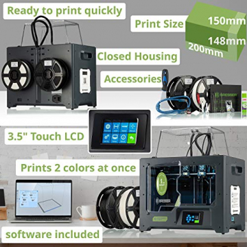 Bresser T-REX² 3D-Drucker mit WLAN & 2 unabhängigen Extrudern, geschlossenem Metallgehäuse (200x148x150mm) ✪