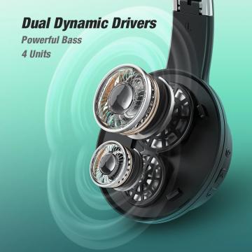 BlitzWolf® AirAux AA-ER3 Bluetooth V5.0 Kopfhörer - [Dual Dynamic Drivers] 4 Einheiten Deep Bass Niedrige Latenz 1000mAh Faltbares Over-Ear-Headset mit Mikrofon ✪