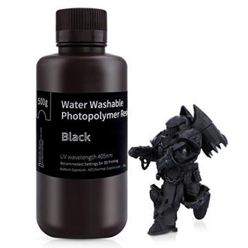 ELEGOO 405nm Wasser Waschbares Resin, 3D Drucker Rapid Resin für LCD UV Härtung Photopolymer 3D Drucker 500g ✪