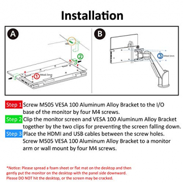 GeChic M505 VESA 100 Aluminiumhalterung für M505E/H/I/T Tragbarer Monitor ✪