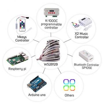 WS2812B LED RGB - Individuell adressierbar 60 LED/m 300LEDs IP67 wasserdichte (5m) ✪