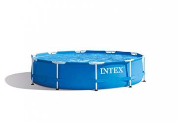 Pool mit Metall Rahmen - Aufstellpool - 305 x 76 cm + Poolabdeckplane - 305 cm Durchmesser ✪