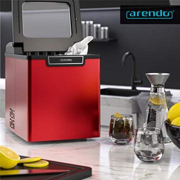 Arendo - Eiswürfelmaschine Edelstahl - 1,8 Liter - Eismaschine mit Kühlung - Eiswürfel Größen small und large - Status LEDs - ABS- BPA frei ✪