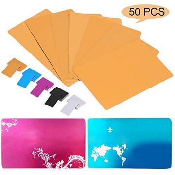 50 Stück Aluminium CO2-Laser Karten im Visitenkarten Format (Mehrere Farben) ✪