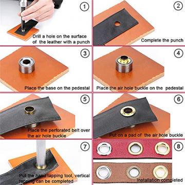 Ösen Werkzeug Kit 14 mm Tülle Ösen Scheiben - Set 120 Grommet Ösen mit Aufbewahrungsbox ✪