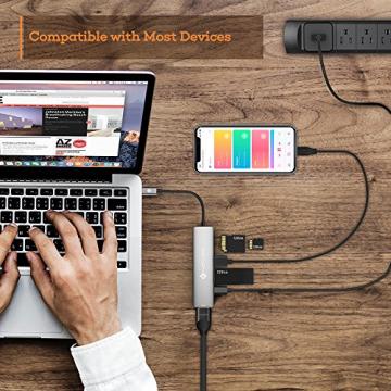 NOVOO USB C Hub 6 Port Aluminium USB C Adapter mit HDMI 4K, 2 USB 3.1, Type C PD 60W (20V,3A), SD/Micro SD Kartenleser Ports für Laptop MacBook Pro 2016/2017 Samsung Galaxy S8 Huawei Type C Geräte ✪
