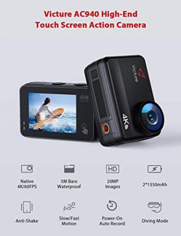 Victure AC940 Action Kamera 5M Bare Machine Wasserdicht 4K 20MP Sportkamera mit Touchscreen Vlog Kamera EIS Fernbedienung 131 Fuß Unterwasser Camcorder mit 2x1350mAh Akkus und Zubehör ✪
