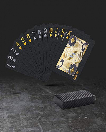 Pokerkarten Schwarz/Gold aus Kunststoff und damit wasserdichte Spielkarten ✪