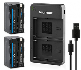 Blumax 2X Akku NP-F750 / NP-F550 4400mAh + Slim Dual Ladegerät | kompatibel mit Sony NP-F970 NP-F960 NP-F990 für Blitzgeräte Videoleuchten Fieldmonitore ✪
