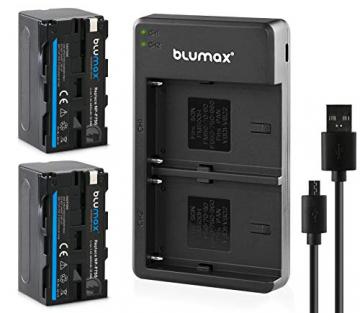 Blumax 2X Akku NP-F750 / NP-F550 4400mAh + Slim Dual Ladegerät   kompatibel mit Sony NP-F970 NP-F960 NP-F990 für Blitzgeräte Videoleuchten Fieldmonitore ✪