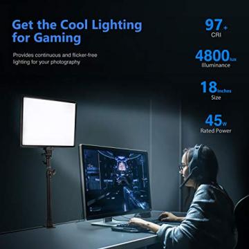 Neewer 90W LED Videolicht C-Klammer Ständer mit 2,4G Fernbedienung Set: 2er-Pack Dimmbares zweifarbiges 18-Zoll LED Paneel 3200K-5600K 45W 4800Lux CRI97 + Licht für die Videoaufnahme von Fotos YouTube ✪