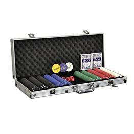 Pokerkoffer Starter-Poker-Set mit 500 Poker-Chips im Alu Koffer mit 2 Schlüssel Silber inkl. 2 Kartendecks / 1 Dealer Button / 5 Würfel ✪