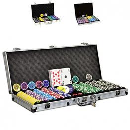 Pokerkoffer Starter-Poker-Set mit 500 hochwertigen Poker-Chips im Alu Koffer inkl. 2 Kartendecks / Dealer + Blinds Button / 5 Würfel ✪