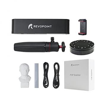 Revopoint POP 3D-Scanner Set mit Handyhalter und Drehscheibe 0,3mm Genauigkeit 8fps Desktop- und Handheld-Scanner mit Gesichts- und Körperscanmodi ✪