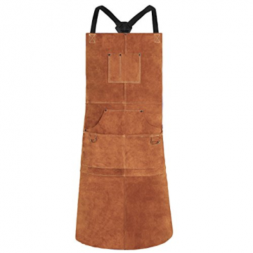Schweißerschürze aus Leder – Hitzebeständige & Flammhemmende Schwere Arbeitsschürze mit 6 Taschen, Extra Groß & Langer Riemen, Einstellbare Schutzkleidung von M bis XXXL (Braun-42'') ✪