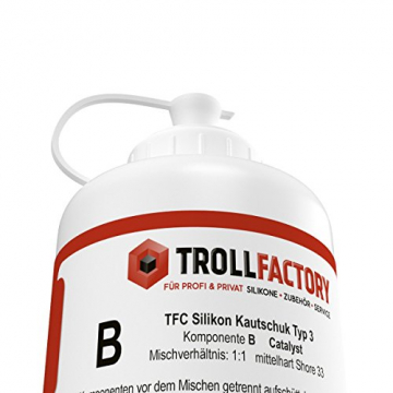 TFC Silikon Kautschuk Typ 3 I Dubliersilikon mittelhart I Zinnguss Bleiguss, hitzebeständig I 1 kg (2 x 500 g) ✪