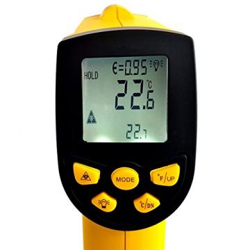 HoldPeak HP-1300 Infrarot-Thermometer 16:1, -50-1300°C, einstellbare Emissivität Pyrometer Laser ✪